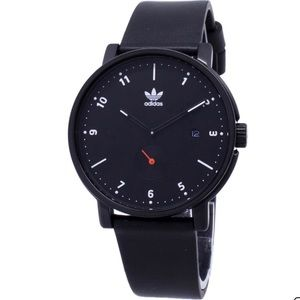 Adidas black leather adjustable watch NWT